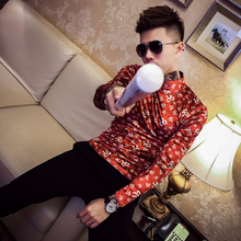 2018 autumn and winter printing stand collar long-sleeved T-shirt male Slim high bottoming shirt youth stretch