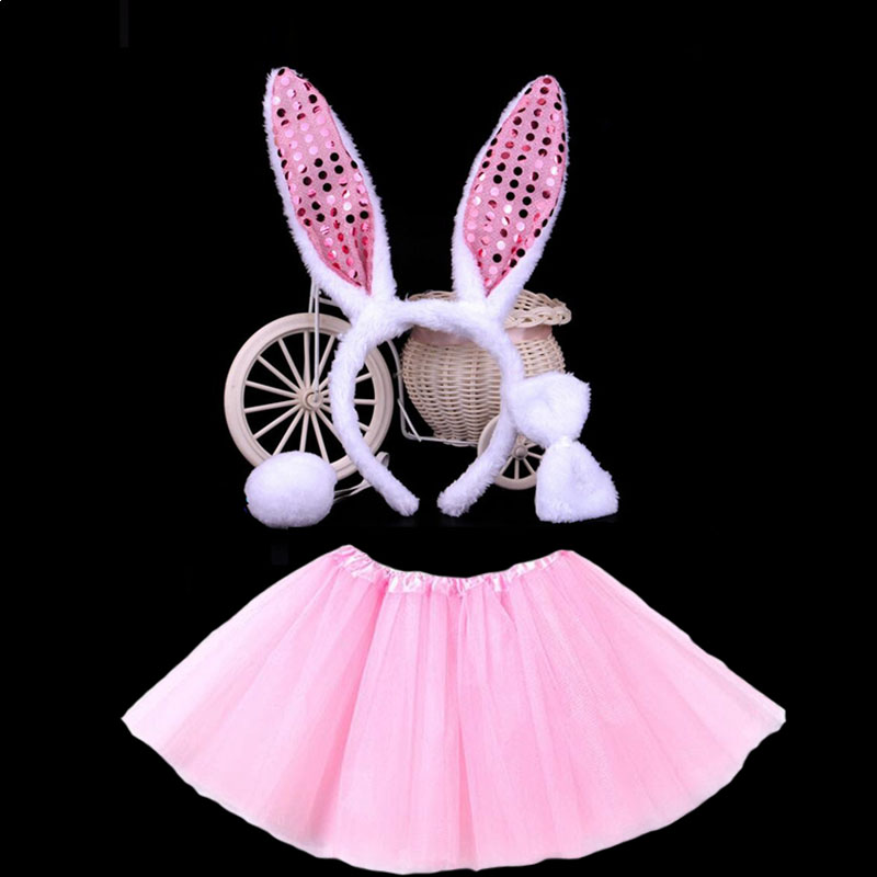 Bunny Ears Headband Bow Tit Tail Skirt Tutu Rabbit Cosplay Animal Costume For Kids Girls Birthday Party Gift Stage Show