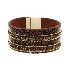 ORNAPEADIA Summer New Jewelry Hot Selling Bohemia bracelet Stylish luxury shines leopard print Leather Bangles for women gift