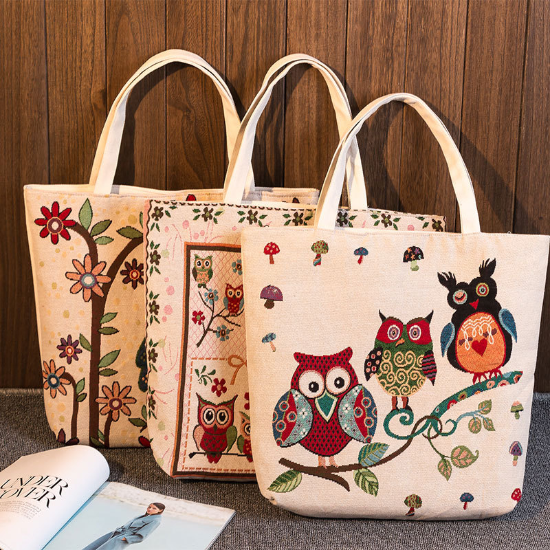 Functional Bags Luggage & Bags Generous Yile Zippered Handbag Eco Shopping Tote Jacquard Weave Fabric Flower Owls 239aeg Sturdy Construction