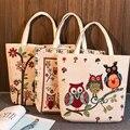 YILE Zippered Handbag Eco Shopping Tote Jacquard Weave Fabric Flower Owls 239aeg
