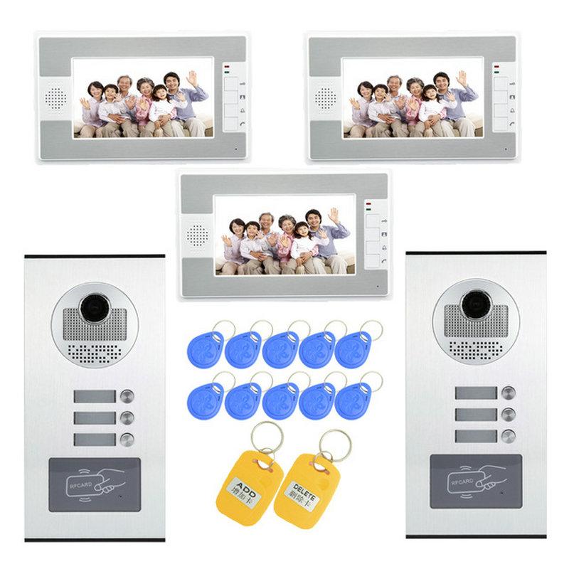 (1 Set) Home Use 2 Camera To 3 Display Video Doorphone RFID Card Unlock Function Access Control Intercom System 700TVL Talkback