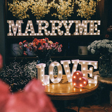 DIY 26 Letters LED Light For Birthday Wedding Party Decor Hanging Alphabet Lighting Lamp For Romantic Proposal Props Home Decor