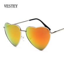 Hot Selling Classic Retro Color eart-shaped Glasses Women Brand Designer Love Shaped Metal Frame Vintage oculos de sol feminino