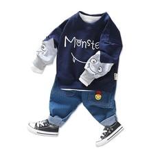цены на 2019 Spring Autumn Baby Girls Boys Clothing Sets Children Clothes Suits Cartoon Casual T Shirt Pants 2Pcs Toddler Infant Costume  в интернет-магазинах