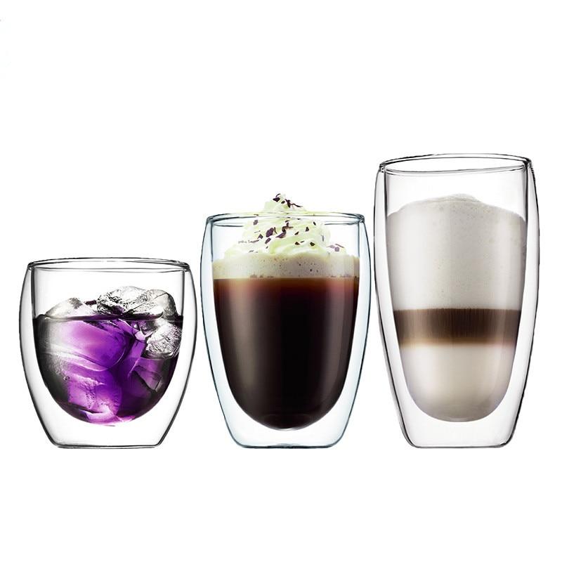 Lekoch 1 pieza Taza de café resistente al calor Taza de vidrio de doble pared Juego de cerveza Hecho a mano Taza de cerveza creativa Tazas de té Transparente Drinkware