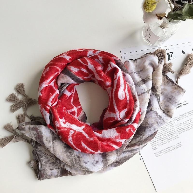 2019 Cotton Totem Print Tassel Scarves And Shawls Long Beach Graffiti Print Wrap Hijab Scarf Wholesale 10pcs/lot Free Shipping