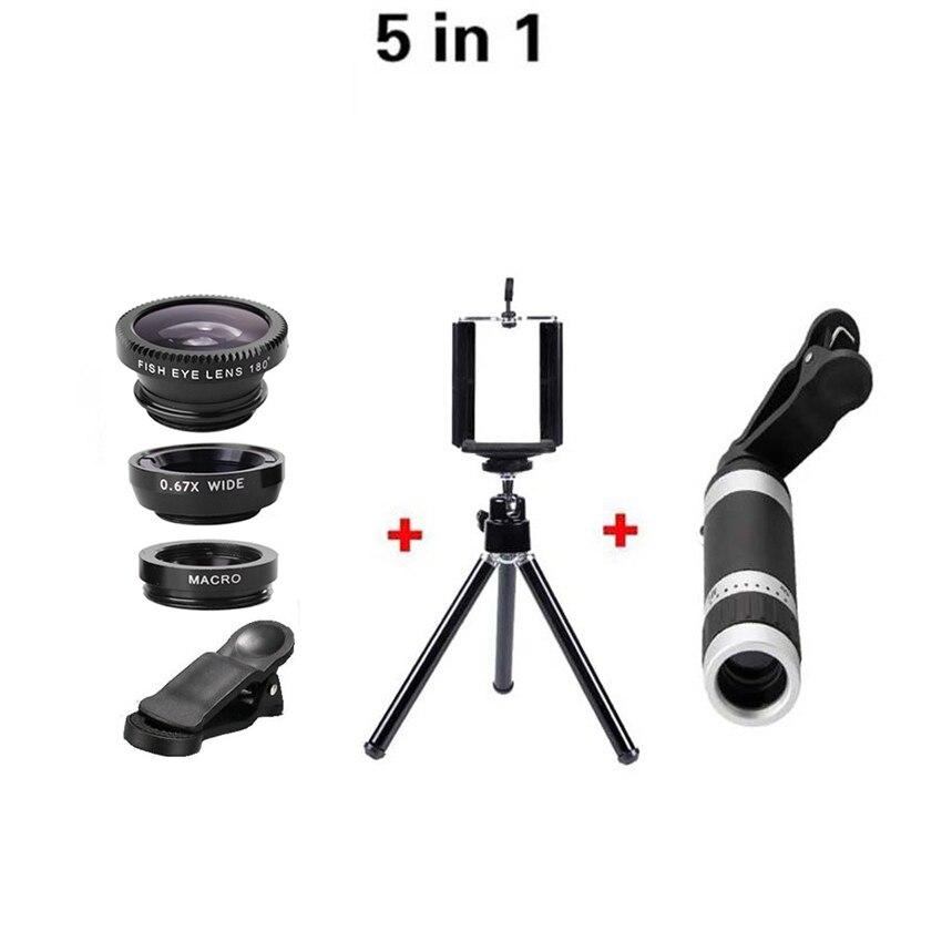 Цена за 5in1 8X телеобъектив оптический зум-объективы рыбий глаз 0.67x Широкий макрообъектив штатив с зажимом для iPhone 6 Samsung Huawei