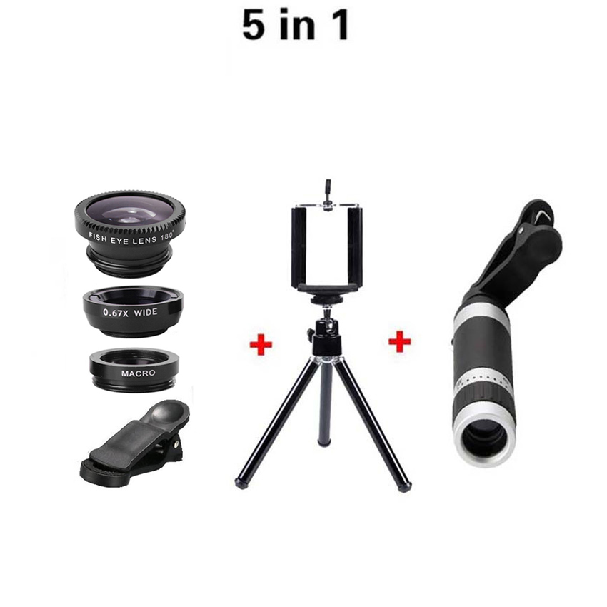 imágenes para 5in1 de 8X Teleobjetivo Zoom Óptico de Lentes de ojo de pez Ojo de Pez 0.67x lente Macro Trípode Con el Clip Para el iphone 6 Samsung Huawei