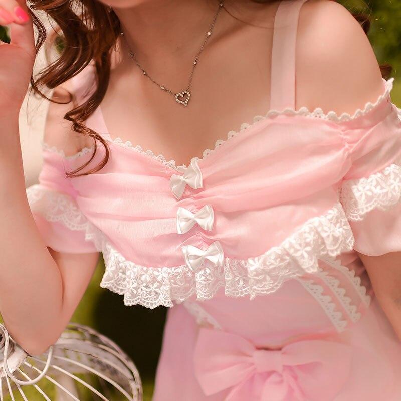 Принцесса сладкий платье в стиле «Лолита» конфеты дождь в японском стиле милые летние новые росы плеча шифоновое платье принцессы с бантом c15ab5773
