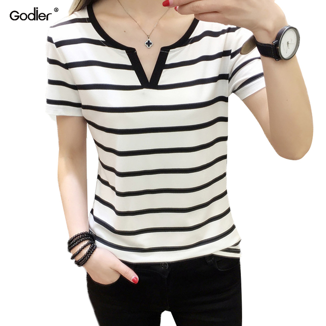 0cb9ec9ae0e08 Godier women Short sleeve tee shirt black and white Stripe V-collar chemise  femme Elastic Cotton Korean Version slim shirt