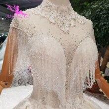 AIJINGYU فساتين زفاف بسيطة ثوب الزفاف طويل الأبيض الشعبية بوهو خمر فستان الزفاف الفاخرة