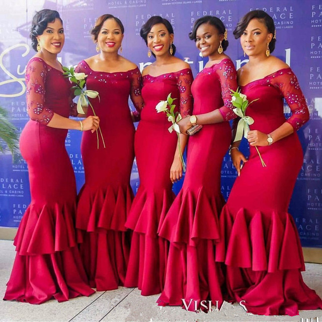 72108fd4916 Red Mermaid Bridesmaid Dresses 3/4 Sleeve Beads Formal Bridesmaids Dress  Satin Off Shoulder Plus Size Junior Party Gowns