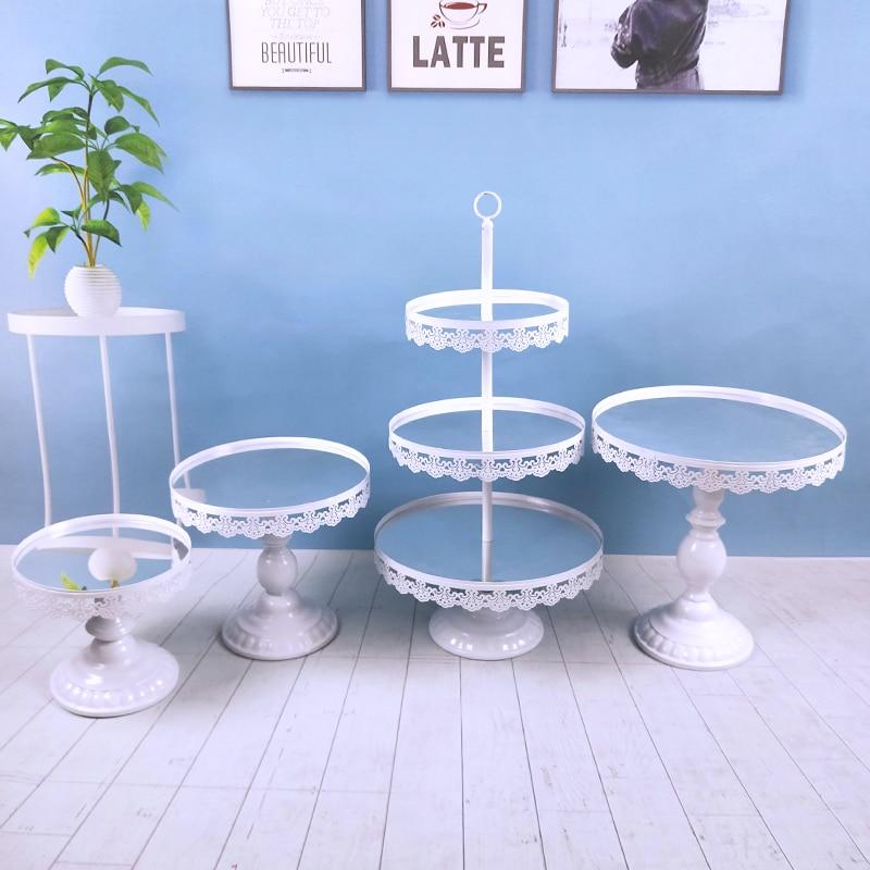 White 1-7PCS Beautiful Tray 3 tier Cupcake Dessert Display Decoration Tools Wedding Crystal Mirror Cake Stand Set(China)