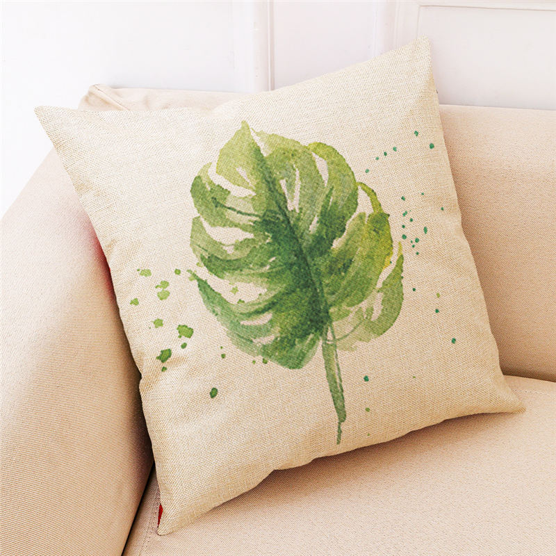 Green leaf simple style cushion cover Decor Chair seat sofa car pillowcase Decorative Home house kids boy bedroom gift friend
