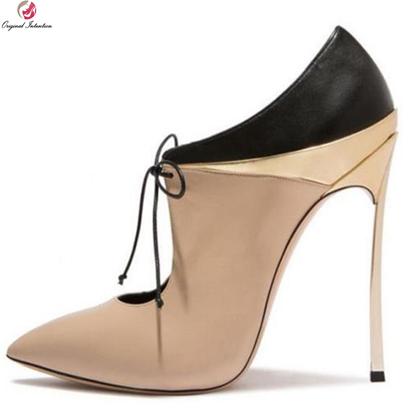 Original Intention New Fashion Women Pumps Sexy Pointed Toe Thin High Heels Pumps Black Nude Shoes Woman Plus US Size 4-10.5 original intention new popular women pumps fashion pointed toe thin heels pumps beautiful black red shoes woman us size 3 5 10 5