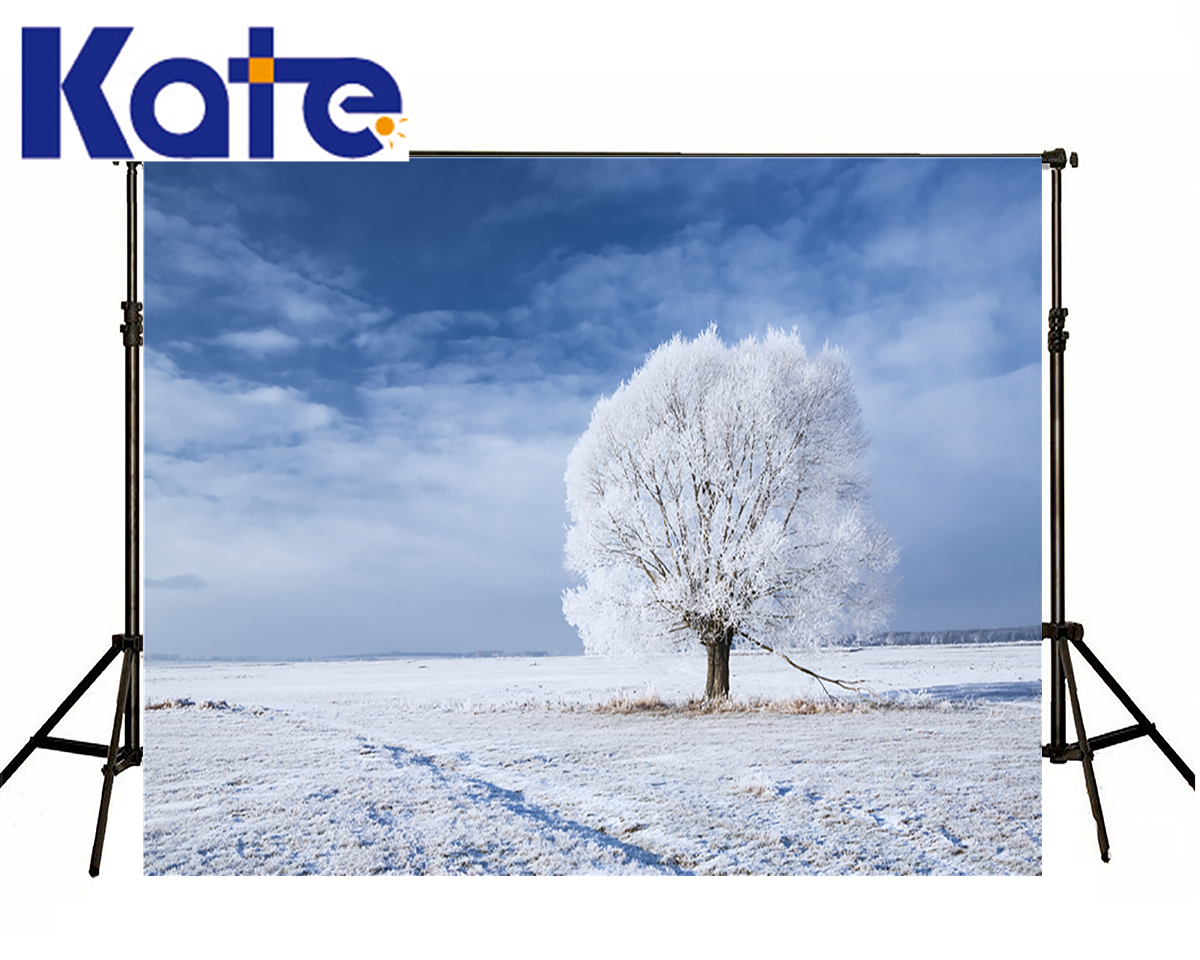 Kate Backdrop Photography Winter One Snow Tree World Background Photography Scenery Blue Sky  Backdrop For Photo Shoot kate photo backdrops winter snow tree forest scenery backgrounds white cold world background christmas backdrop for photo shoot