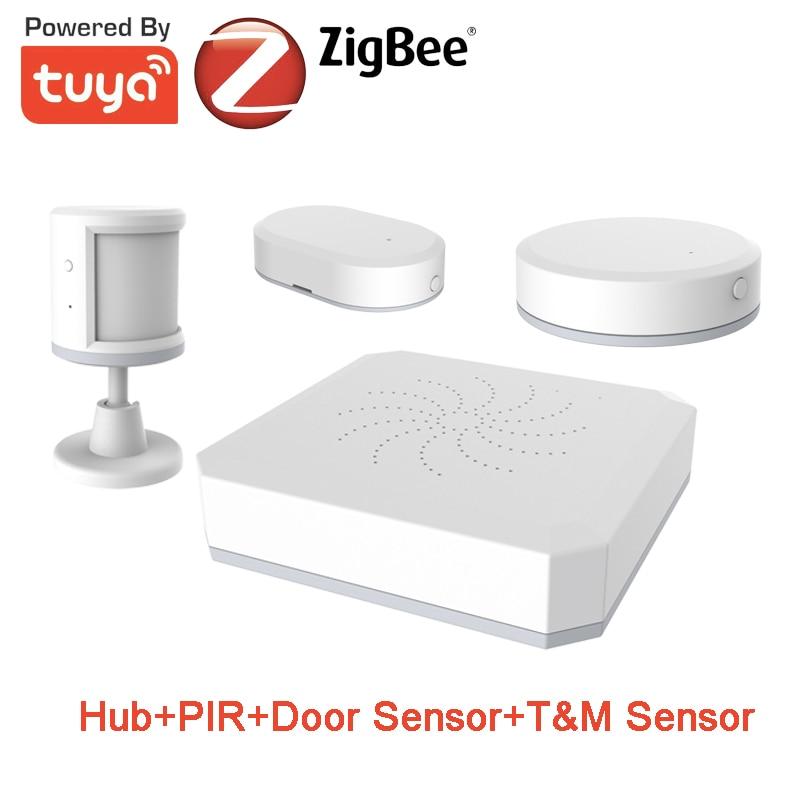 Kit d'alarme de maison intelligente Tuya ZigBee vie intelligente capteur d'humidité de température de Contact PIR Kit d'alarme de sécurité bricolage