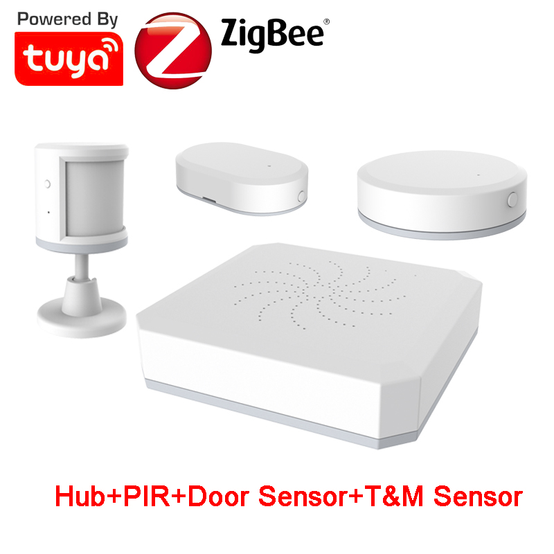Smart Life Tuya ZigBee Smart Home Alarm Kit PIR Contact Temperature Humidity Sensor DIY Security Alarm Kit