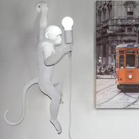 E27 обезьяна современный настенный светильник смолы творческий белая обезьяна Лофт Винтаж пеньковая веревка подвесной светильник для домаш