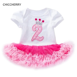 2 Years Birthday Tutu Dresses For Girls Infant Lace Romper Dress Baby Girl Clothes 2nd Toddler Birthday Outfits Bebek Elbise(China)