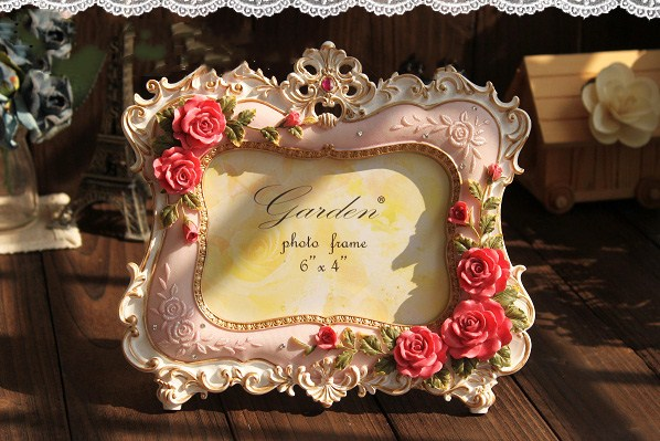 1 Pcs Resin Photo Frame Picture Creative Pink Flowers Vertical Wedding Home Decor