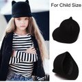 100% Wool Girls Fedora Hat Winter Black Devil Horns mickey Cat ear animal Derby Bowler lovely Cap for Chilren Gift
