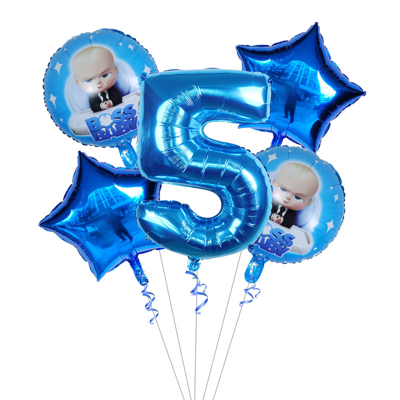 aac2f6113 5pcs Boss Baby Balloon 30 inch Number Foil Balloons Baby Shower 1 2 3 4 5  6st Birthday Party Decoration Cartoon Helium Globos