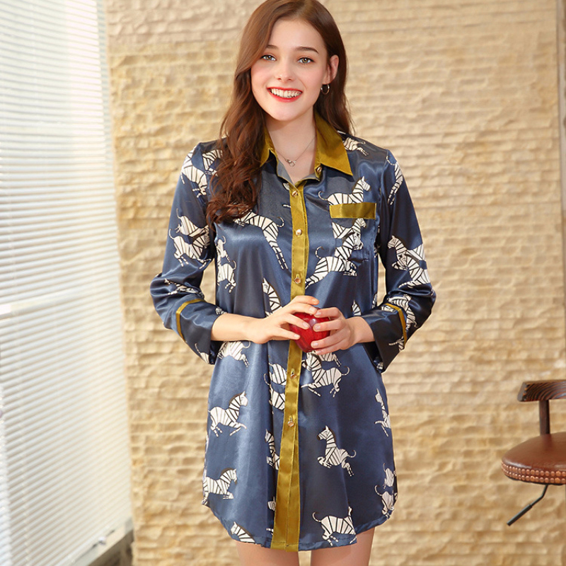 SSH0181 Ladies Sexy Sleepwear 2018 New Brand   Nightgowns     Sleepshirts   Female Long Sleeve Home Clothing Satin Silk Summer Nightwear