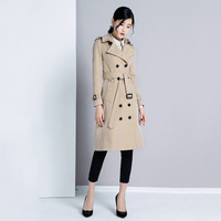 Women 2018 Spring Autumn Clothing Solid Color Lady Long Windbreak Double Breasted Slim Women Trench Coat With Belt outwear