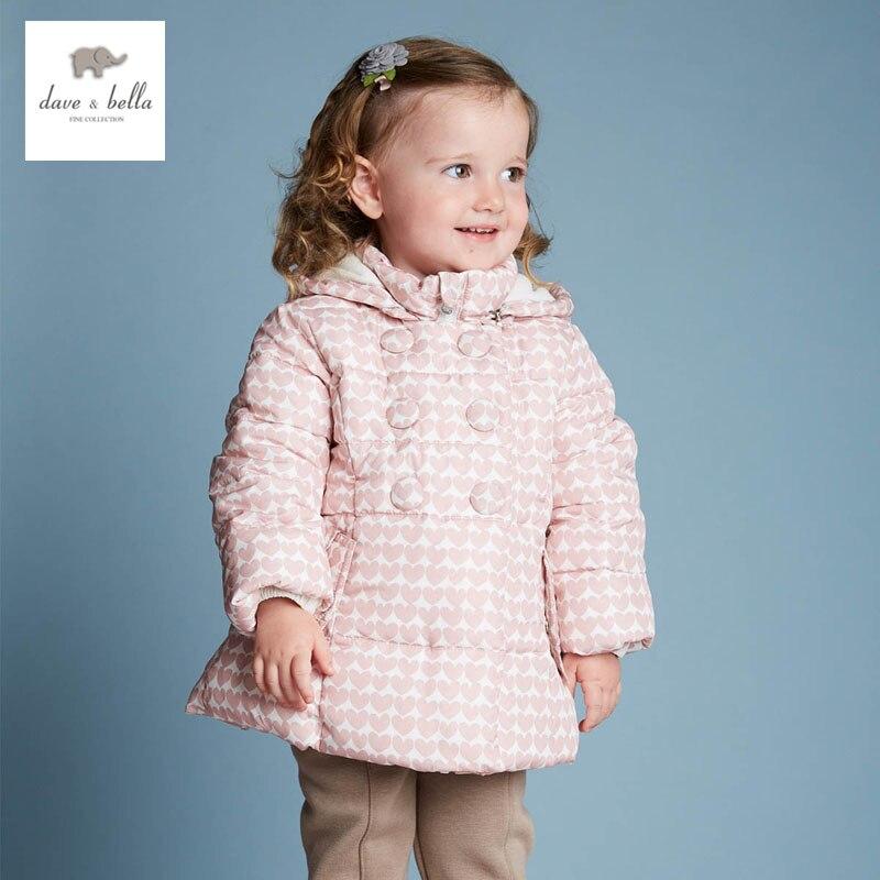 DB4090 DAVEBELLA baby girl padded jacket children winter outerwear kids grid jacket