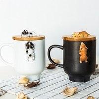 Creative Cartoon 3D Corgi French Bulldog Ceramic Mugs Cute Large Capacity Dog Cups Student Couple Mug For Friend Gift Cup