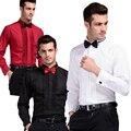 S-6XL 2015 hombres de la manera camisa show dance camisa trun-down de manga larga de algodón camisa camisas de vestido de boda del padrino de boda masculina