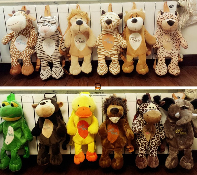 Cute Nici Animal Lolita Backpack Plush Deer Tiger Lion Bear Frog Baboon Duck Elephant Cosplay Inside