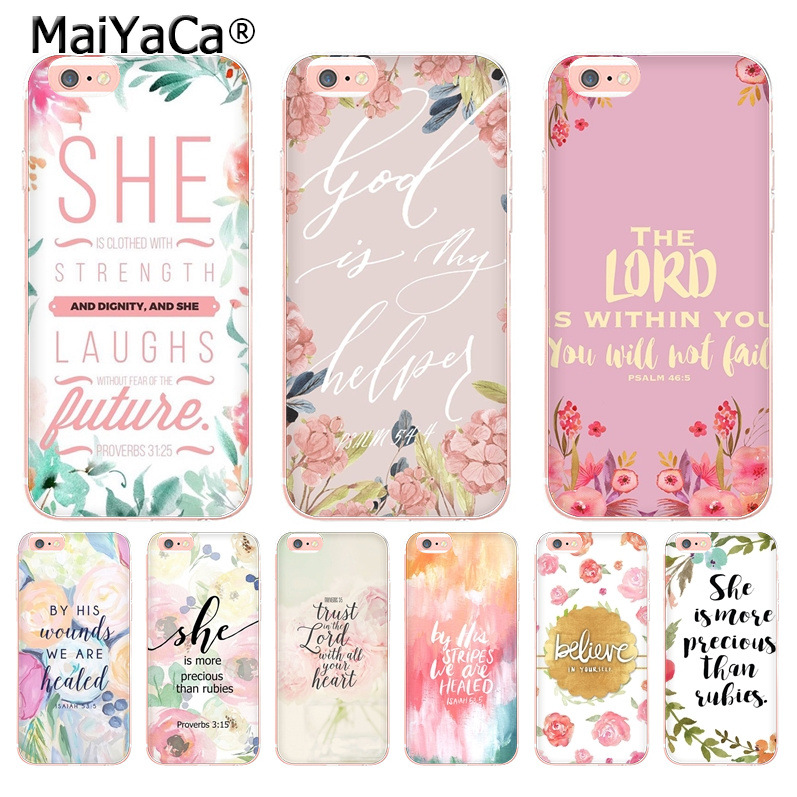 MaiYaCa bible verses Flower Pattern Luxury Cool Phone Accessories Case for Apple