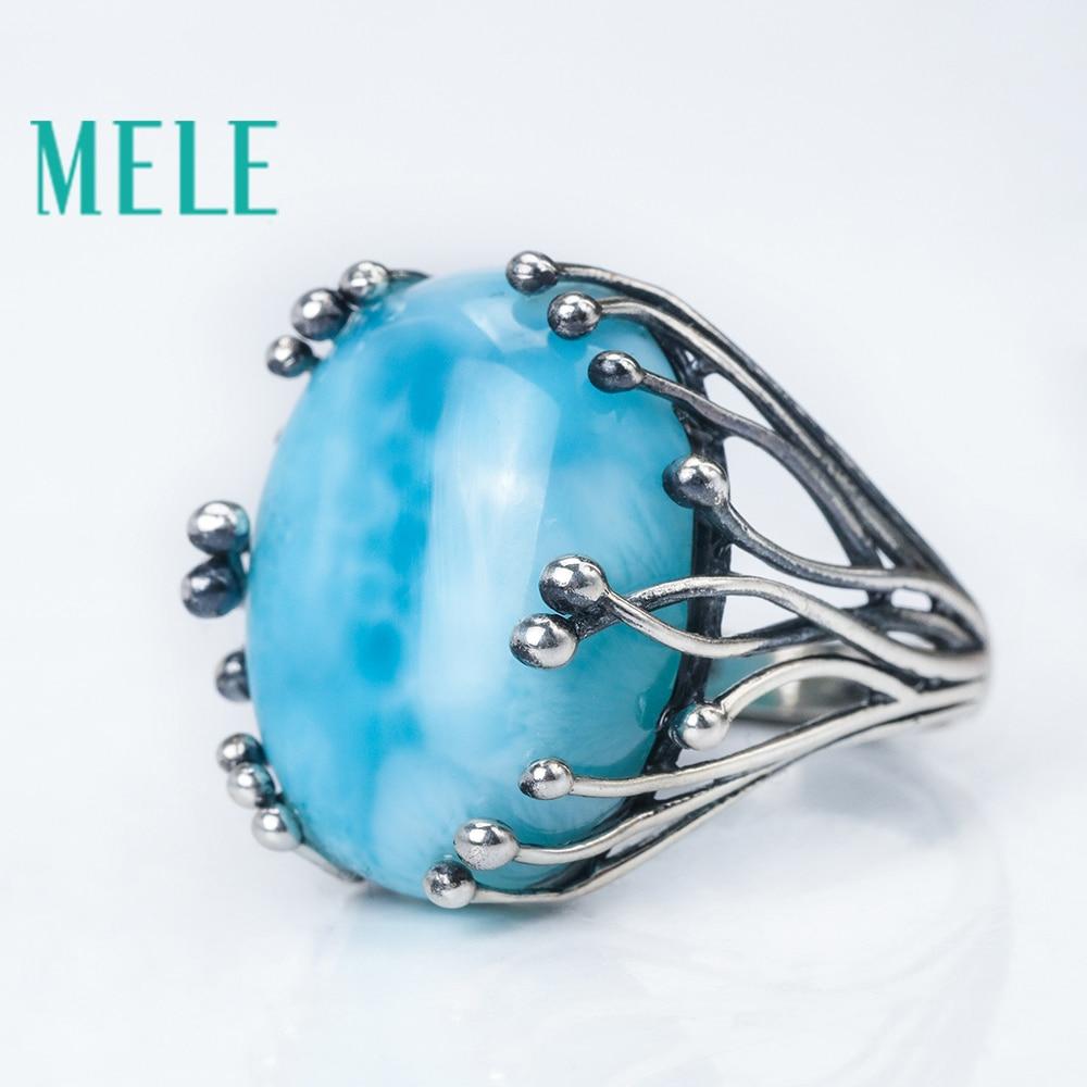 Natuurlijke larimar zilveren ring, ovaal 15mm * 20mm, blauwe steen en - Fijne sieraden - Foto 3