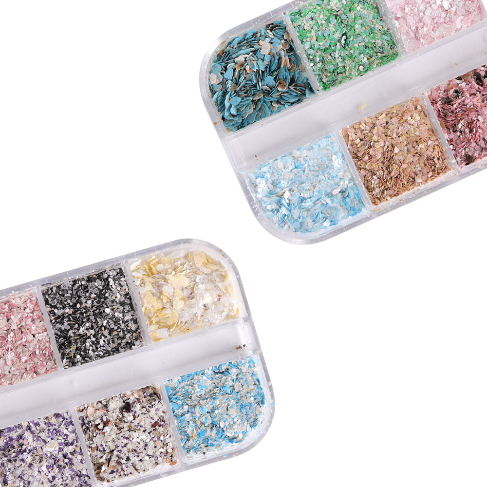 Image 3 - 1 set 12 Grid Colorful Marble Irregular Nail Sequins 3d Fine Nail Glitter Powder Manicure Flakes Paillette Nail Decoration LA546-in Nail Glitter from Beauty & Health