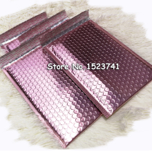 25 шт. 15*20+ 4 см розовый Золотой пузырьковый конверт, Розовый Золотой фольгированный пузырьковый почтовый пакет для упаковки подарков, свадебный мешок