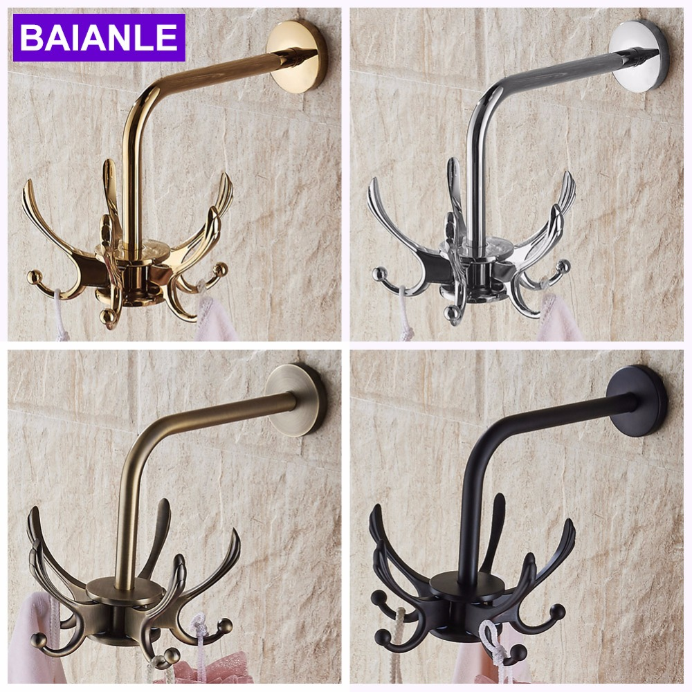 Wall Mounted Swivel Europe Clothes Hook Bathroom Accessories Rotate Robe Hooks Antique Towel Hook Zinc Alloy everso wall hook for clothes zinc alloy door vintage coat hooks hat bag towel hanger bathroom hook antique hanger