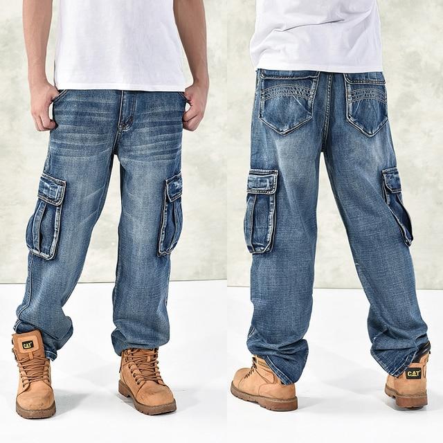 أزياء الرجال فضفاض الهيب هوب الجينز 2016 زائد الحجم 30-46 متعدد جيوب سكيت البضائع جينز للرجال التكتيكية ركض الدنيم