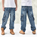 Fashion Men's Baggy Hip Hop Jeans  2016 Plus Size 30-46 Multi Pockets Skateboard Cargo Jeans For Men Tactical Denim Joggers
