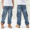 Moda Calças Largas do Hip Hop dos homens Calças de Brim 2016 Plus Size 30-46 Multi Bolsos De Carga Calças de Brim Do Skate Para Os Homens tático Denim Corredores