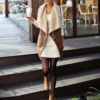 Comfortable Faux Fur Vest Lady Warm Cream Waistcoat
