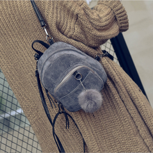Fashion Bag Women Girls Corduroy Backpack Solid Travel Small Zipper Shoulder  Fluffy Ball Hanging Backpacks