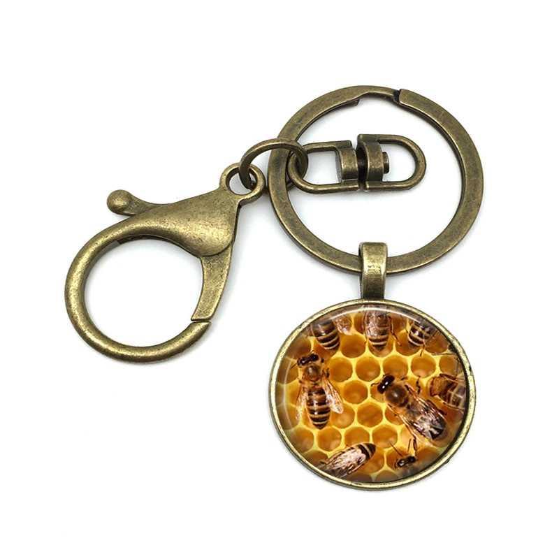2018/أزياء الساخن النحل نمط الزجاج قلادة مفتاح سلسلة ، الرجال و المرأة الخصر الحلي المجوهرات المفاتيح.