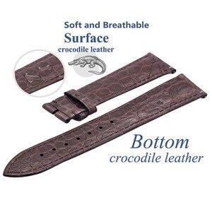 Image 2 - ZLIMSN כפול תנין עור רצועת מהיר התקנה חום שחור עבור Mens נשים יוקרה תנין שעון להקת גודל 18mm 20mm 22mm