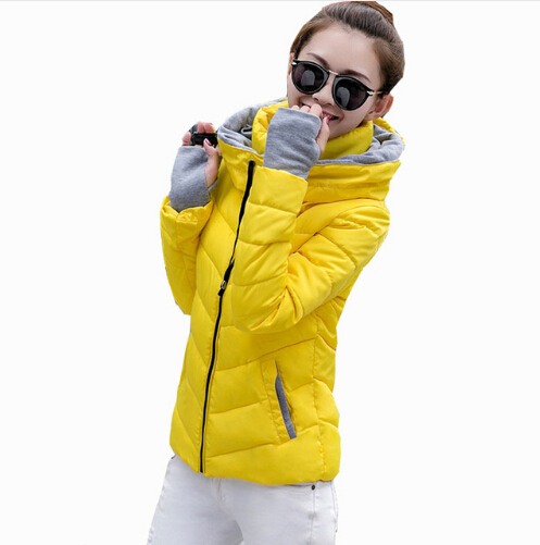 2016 Fashion Female New Autumn Winter Short Thick Feather Padded Hooded Jacket Slim Warm Coat with