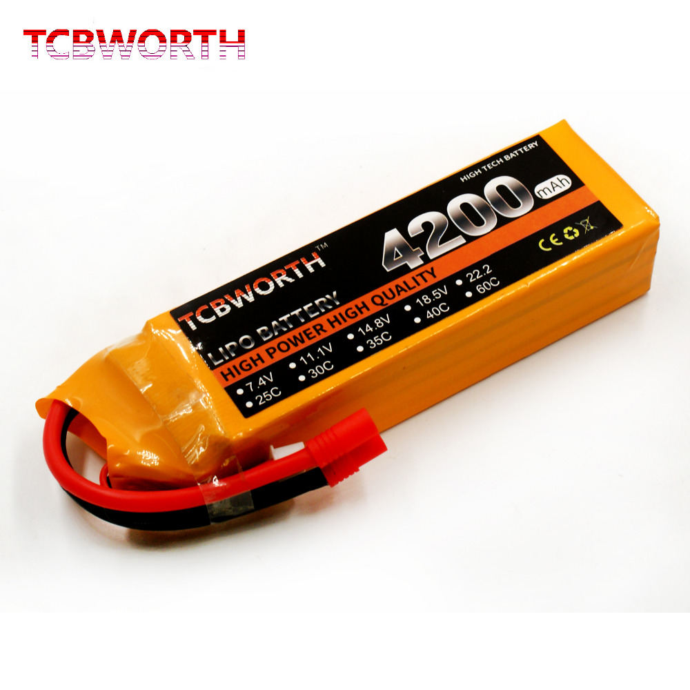 TCBWORTH 4S 14.8V 4200mAh 40C-80C RC Quadrotor LiPo battery  For RC Helicopter Drone Airplane Car Boat Li-ion battery skullies