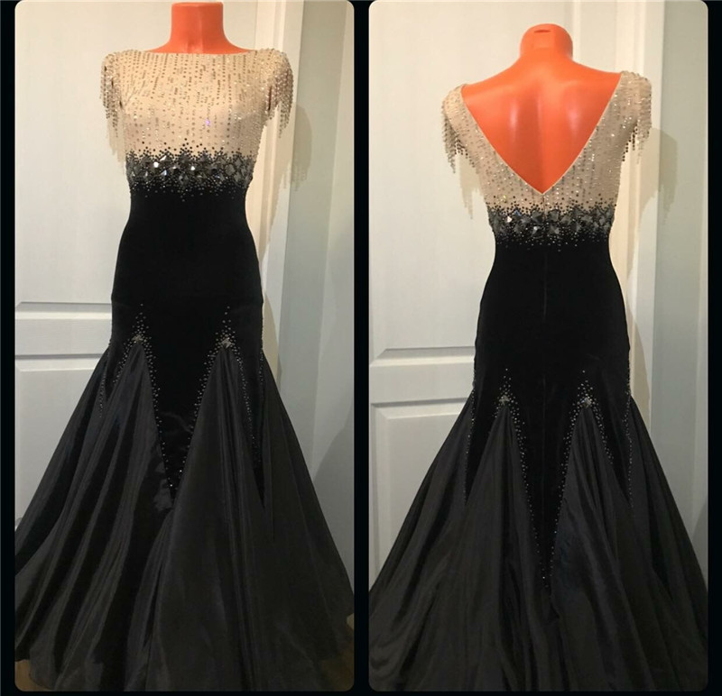 GOODANPAR Bead Tube Silk Velvet Ballroom Dance Standard Competition Dresses Women With Bodysuit Bra Cups Foxtrot Waltz Clothes