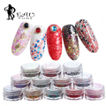12 bottles/Set Mix Colors Dot Shape Round Glitter For Nail Art Charms Mixed Sequins Glitter Of Gel Nail Decoration Kit Wholesale